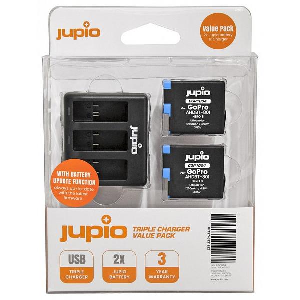 Jupio utángyártott töltő szett GoPro HERO8 akciókamerákhoz (Tripla tötő + 2db akkumulátor) 03