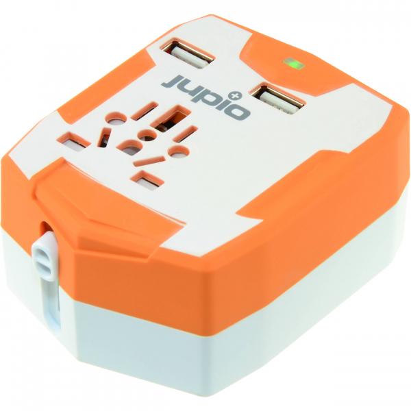 Jupio világutazó adapter külső akkumulátor, 2db USB csatlakozóval, 6000mAh powerbank 03