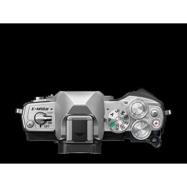 Olympus OM-D E-M10 Mark III digitális fényképezőgép DZK kit, 14‑42mm II R és ED 40‑150mm R objektívekkel 08